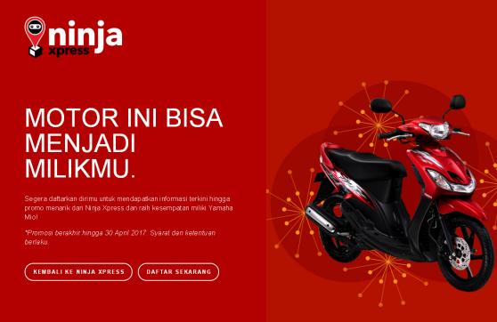 ninja xpress, ninja express, bisa dapat motor